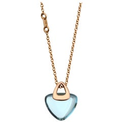 Modern Geometrical Triangle 18k Gold Luck Rock Necklace with Healing Blue Topaz