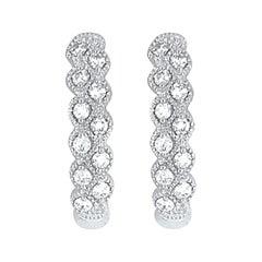 14 Karat White Gold Diamond Hoop Earrings