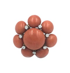Fabulous, Large and Impressive Coral and Diamond Flower Cluster Ring