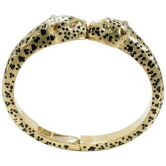 18 Karat Pasquale Bruni Diamond Panther Bangle Yellow Gold Black Enamel