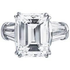 8.97 Carat Emerald Cut GIA G VS2 Diamond Ring Platinum
