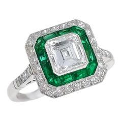 Asscher-Cut Diamond, Emerald, and Platinum Ring of 1.03 Carat