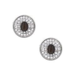 Round Diamond Hematite Gents Cufflinks