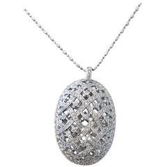 White Diamond Oval Design Pendant Necklace in 18 Karat White Gold