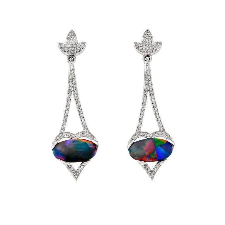 Giulians 18 Karat Art Deco Inspired Australian Black Opal Diamond Drop Earrings For Sale