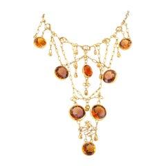 1960s Handmade Citrine Gold Bib Necklace