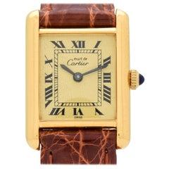 Cartier Tank Must de Ladies Sized Watch 18 Karat Yellow Gold Plated, 1990s