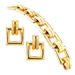 Gold Link Bracelet Earring Set