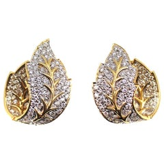 Diamond 18 Karat Gold Leaf Earrings
