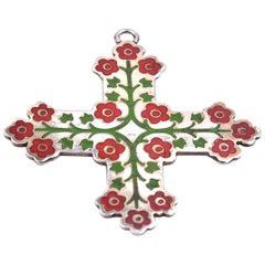 Vintage Sterling Silver Enamel Floral Cross Pendant