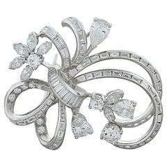 Midcentury Diamond Platinum Pin Brooch