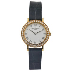 Patek Philippe Calatrava 18 Karat Yellow Gold Ladies Diamond Bezel Watch
