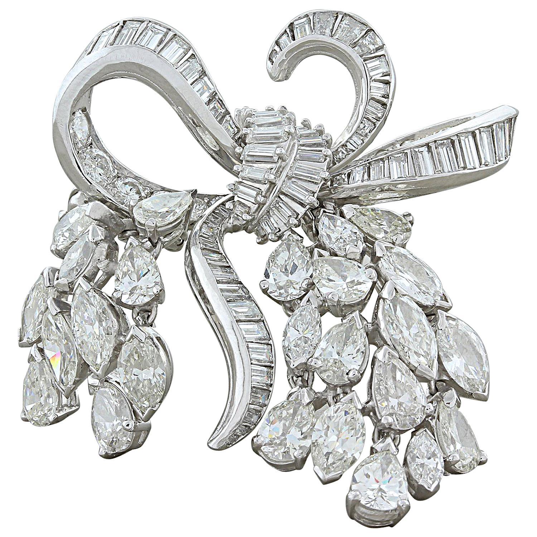 Midcentury Diamond Platinum Bow Pendant Brooch