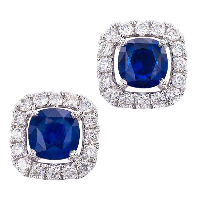 Sapphire Diamond White Gold Stud Earrings For Sale