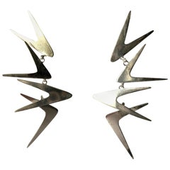 Ruth Berridge Sterling Silver Dangling Boomerang Modernist Mobile Earrings