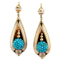 Victorian Turquoise Gold and Enamel Drop Earrings