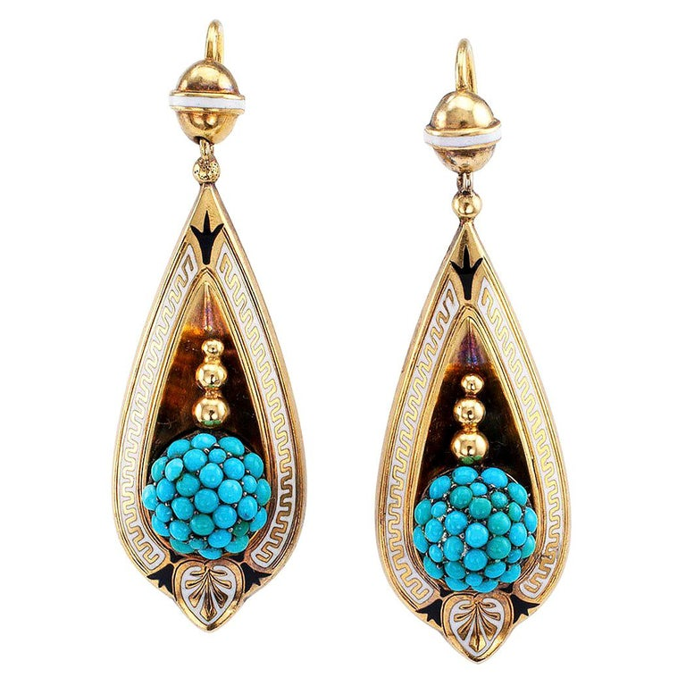 Victorian Turquoise Gold and Enamel Drop Earrings For Sale