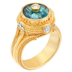 Kent Raible Indicolite Tourmaline, Diamond, 18K Gold Granulation  Cocktail Ring
