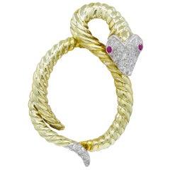 Gold and Diamond Serpent Brooch