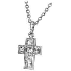 Cartier Diamond Platinum Cross Pendant Necklace