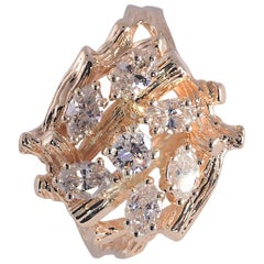 Freeform Bark Finish Marquise and Round Diamond Ring 1.0 Carat 14 Karat Gold