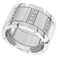 Cartier Diamonds 18 Karat White Gold Tank Française LM Half Ring