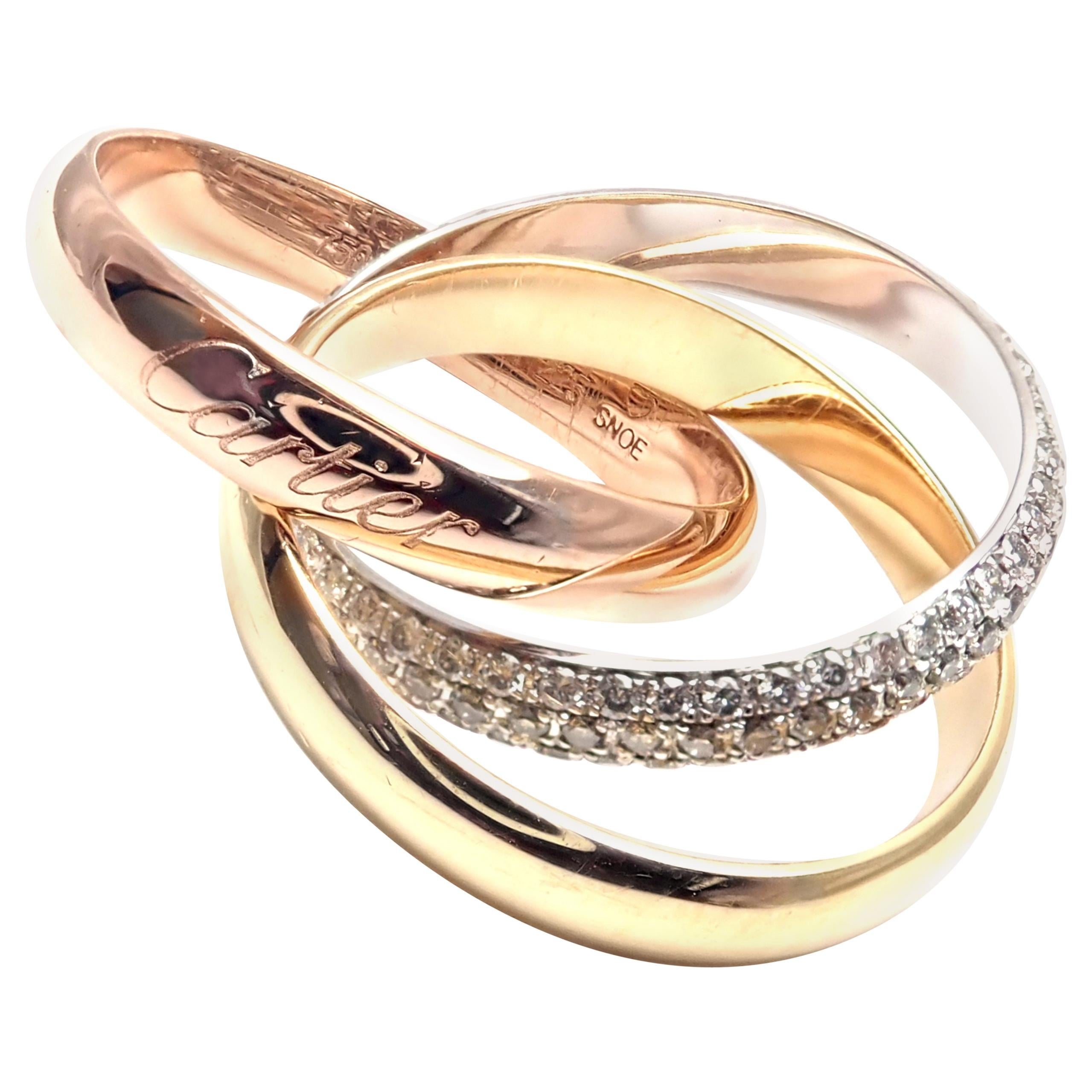 Cartier Classic Diamond Tri-Color Gold Trinity Band Ring