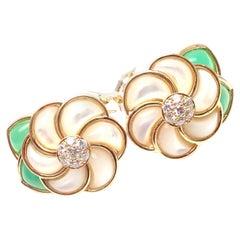Van Cleef & Arpels Mother of Pearl Chrysoprase Diamond Gold Flower Earrings