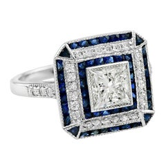 GIA Certified 1.00 Carat Diamond Blue Sapphire Engagement Ring