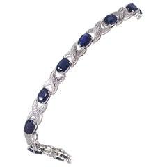 Natural Sapphire and Diamond Bracelet, 10 Karat White Gold 8.6 Grams