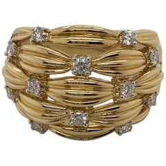 18 Karat Yellow Gold Diamond Set Basket Weave Dress Ring