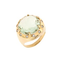 Diamonds Green Amethyst Rose Gold Ring Handcrafted in Italy by Botta Gioielli