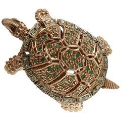 Emeralds, Diamonds 9 Karat Rose Gold and Silver Turtle Ring