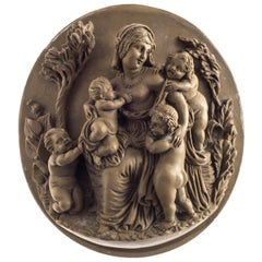 Caritas Soap Stone Cameo Relief Sculpture Italy