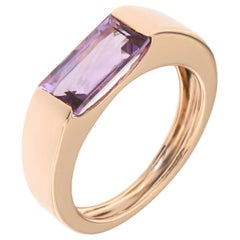Amethyst Rose Gold Band Ring Handcrafted in Italy by Botta Gioielli