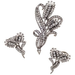 1950 Demi Parure Diamond Platinum Flowers Earrings Earclips Dress Clip