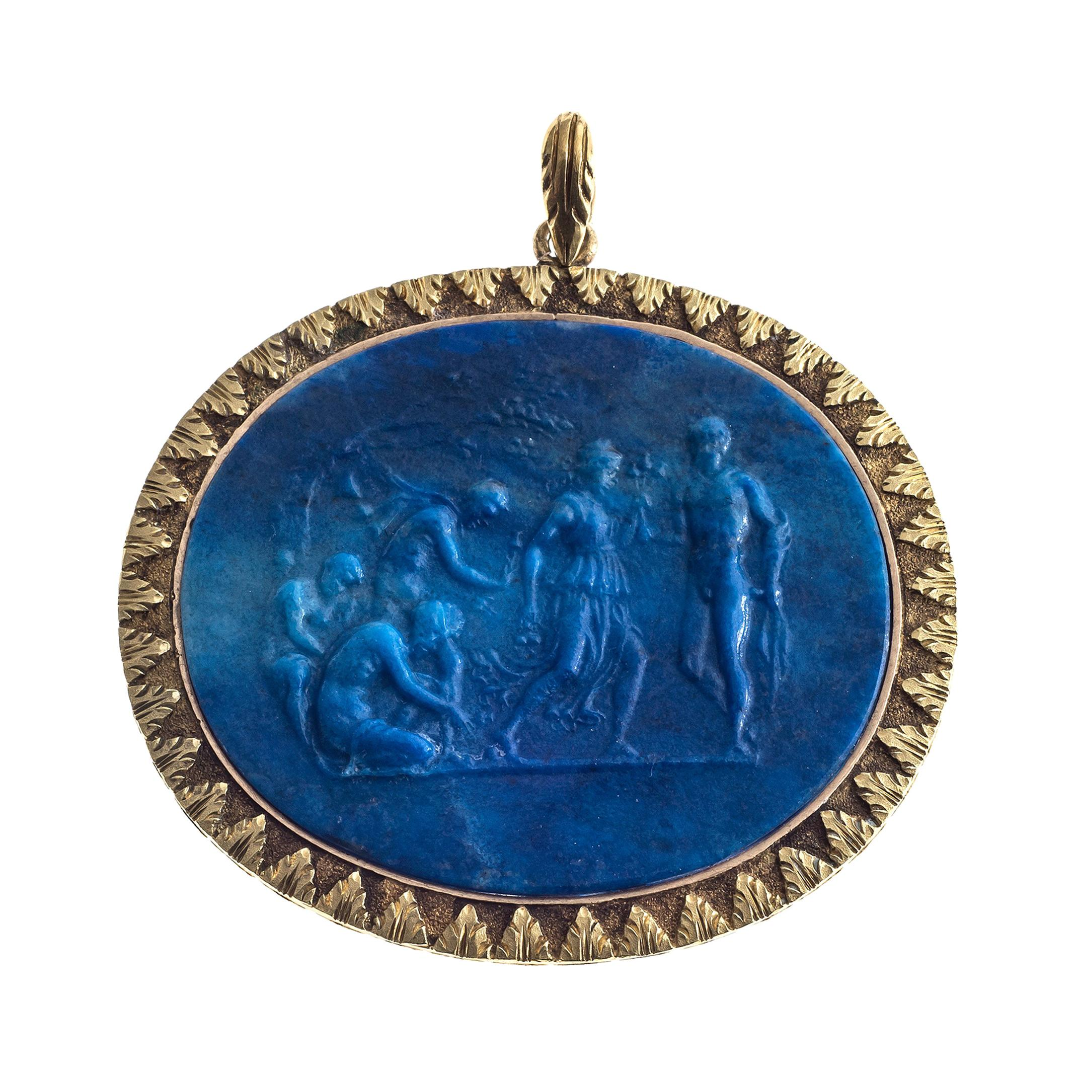 Antique Greek Mythology Lapis Lazuli Cameo Gold Pendant