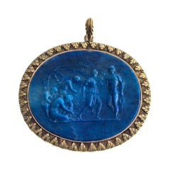 Antique Greek Mythology Lapis Lazuli Cameo Gold Pendant