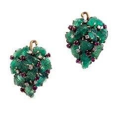 1940 Grape Engraved Emerald Ruby Diamond Gold Earrings Earclips