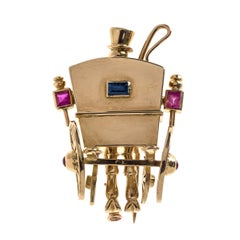 Mellerio Dits Meller 1940 Novelty Carriage Ruby Sapphire Gold Dress Clip Paris