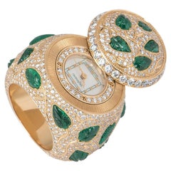 Rare DeLaneau Rose Gold, Diamond and Emerald Ring Watch 7.60 Carat IGR Certified