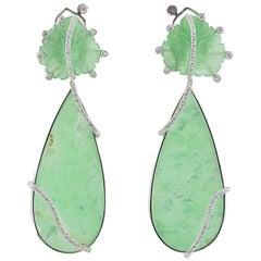 Margherita Burgener Handcrafted Jade Chrysoprase Diamond Gold Earrings