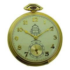 Hamilton Packard Presentation Yellow Solid Gold Art Deco Pocket Watch from 1936