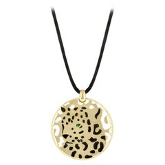 Cartier Circular Motif Panthere Necklace in Black Lacquer and Tsavorite