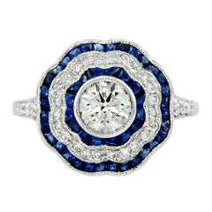 Diamond 0.72 Carat Blue Sapphire Engagement Ring