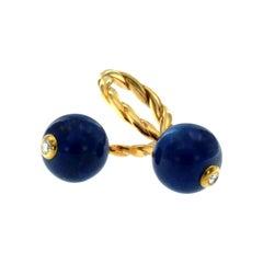 Vintage Lapis Lazuli Diamond Gold Key Ring