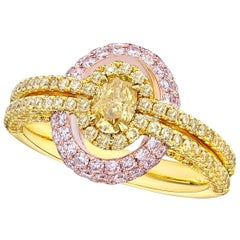 GIA Certified 0.35 Carat Fancy Intense Orange Yellow Diamond Oval Cut Ring