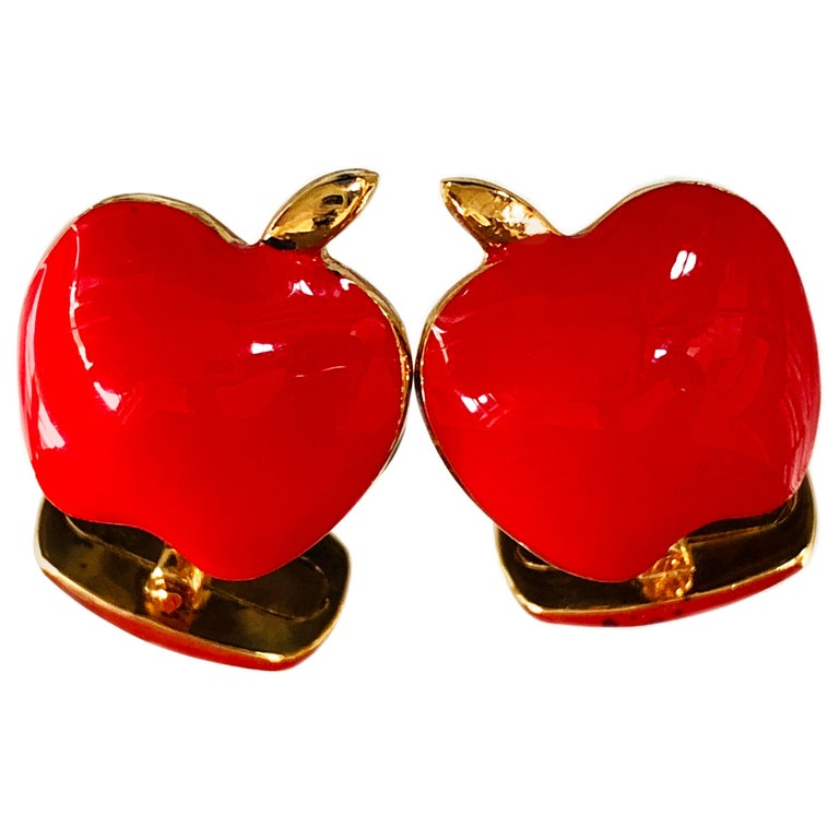 Red Hand Enameled Apple Shaped Sterling Silver Gold-Plated Cufflinks For Sale