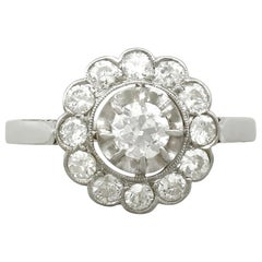 Antique 1.13 Carat Diamond and Platinum Cocktail Ring