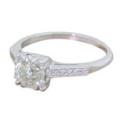 Art Deco 0.99 Carat Old Cut Diamond Engagement Platinum Ring